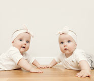 Cute baby twin sisters crawl together on wooden floor wearing funny headbands Stock Photo