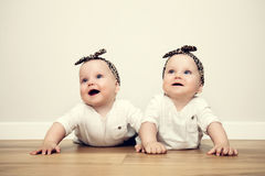 Cute baby twin sisters on wooden floor wearing funny tiger headbands Stock Photography