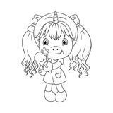 Cute baby unicorn holding ice cream, coloring page for girls. Vector. Cute baby unicorn holding ice cream, coloring page for girls. Vector illustration isolated Stock Photography