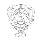 Cute baby unicorn with paper garland, coloring page for girls. Vector. Cute baby unicorn with paper garland, coloring page for girls. Vector illustration Stock Photo