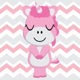 Cute baby unicorn is sleeping on chevron background vector cartoon, Kid Nursery wall, wallpaper, and greeting card Royalty Free Stock Images