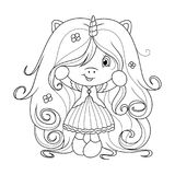 Cute baby unicorn with super long hair with flowers, coloring page for girls. Vector. Cute baby unicorn holding flower, coloring page for girls. Vector Stock Photos