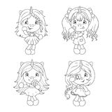 Cute baby unicorns coloring page for girls. Vector. Cute baby unicorns coloring page for girls. Vector illustration isolated on white background Stock Photography