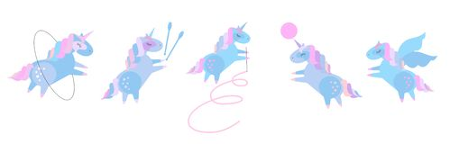 Cute baby unicorns in rhythmic gymnastics. Set of beautiful pony doing rhythmic gymnastics with ribbon, ball, hoop, skipping rope stock illustration