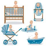 Cute Baby in Various Position Set. Stock Image