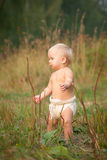 Cute Baby Walk In Park On Sunset Stock Image