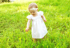 Cute baby walking outdoors on the grass Stock Photo