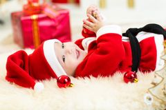 Cute Baby weared Christmas clothes Royalty Free Stock Photography