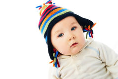 Cute baby wearing a hat royalty free stock photography