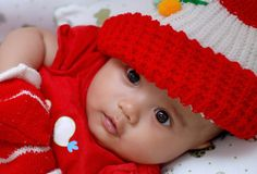 Cute baby wearing red shirt Royalty Free Stock Images