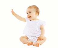 Cute baby. On a white background stock images