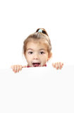 Cute baby with white blank banner isolated stock images