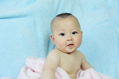 Cute baby whith pink towel Royalty Free Stock Image