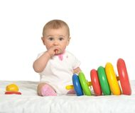 Cute baby wih toy Stock Photos