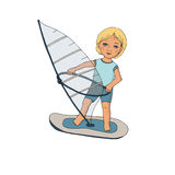 Cute baby on windsurfing. Cute picture painted by hand in cartoon-style Royalty Free Stock Image