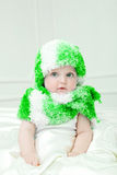 Cute baby at winter background Stock Images