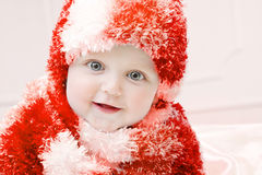 Cute baby at winter background Stock Image