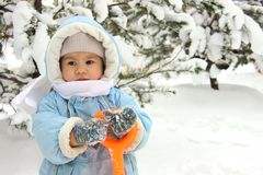 Cute baby on winter day royalty free stock photo