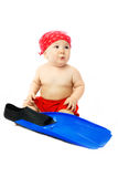 Cute Baby With Blue Flippers Royalty Free Stock Photos