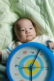 Cute Baby With Clock Stock Photo