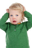 Cute baby worried isolated Stock Images