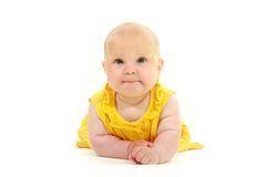 Cute baby in yellow Stock Photo