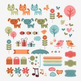 Cute babyish scrapbook elements. Set stock illustration