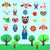 Cute babyish stickers set. A set of cute babyish stickers royalty free illustration