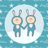 Cute babys  in rabbit costume Royalty Free Stock Photo