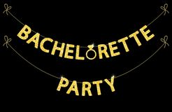 Cute bachelorette party bunting as gold glitter letters and engagement ring. For your decoration Stock Photos