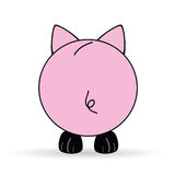 Cute back of pig vector illustration Royalty Free Stock Photo