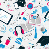 Cute back to school background with students and pupils attributes. Education background Royalty Free Stock Photos