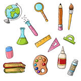Cute back to school icons. Cute sketchy doodle back to school icons Stock Images