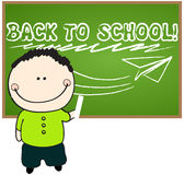 Cute back to school illustration. Vector cute hand drawn style back to school illustration with boy  drawing on chalkboard Royalty Free Stock Photos