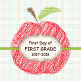 Cute Back to School theme frame with apple sketch on copybook squared paper background Royalty Free Stock Photo