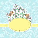 Cute background. With birds and flowers Stock Images