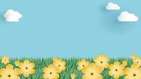 Cute background animation footage of the meadow with yellow flowers on blue sky and white cloud in paper art style.
