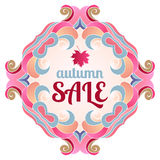 Cute background   autumn sale. On white background Stock Photography