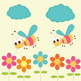 Cute background with bees Stock Photo