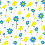 Cute  background. Cute chicken and blue flower  background Stock Image