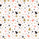 Cute background with Christmas tree, snowflakes, hearts and star Stock Photo