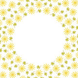 Cute background circle border frame with flowers and leaves royalty free illustration