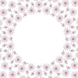 Cute background circle border frame with flowers and leaves Royalty Free Stock Image