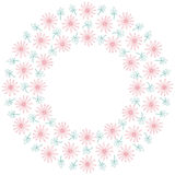 Cute background circle border frame with flowers and leaves stock illustration