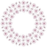 Cute background circle border frame with flowers and leaves Stock Images