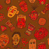 Cute background with colorful african masks Stock Image