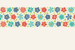 Cute background with colourful hand drawn flowers and copyspace. Spring, Mother`s Day, Woman`s Day and birthday party. stock photos