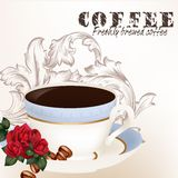 Cute background with cup of coffee Royalty Free Stock Photo