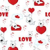 Cute background with dogs and hearts for Valentine's Day, seamless pattern vector illustration