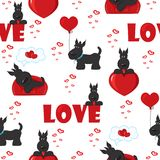 Cute background with dogs and hearts for Valentine's Day, seamless pattern Royalty Free Stock Images